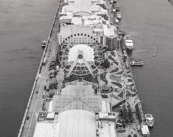 Black And White Chicago Photography, Chicago Navy Pier - Bird Eye, B&W Art Photo Print, Ferris Wheel, Chicago Icon, Aerial Chicago Photo