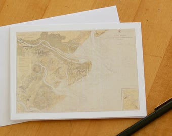 "Tybee Island Map Note Cards (1925) 4.25""x5.5"""