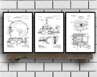 Optometry Prints - Set of 3 - Optometry Patent, Optometry Poster, Optometry Blueprint, Optometry Print, Optometry Art, Optometry