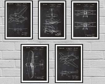 Airplane Patent SET of 5, Aircraft Poster, Airplane Art, Aviation Decor, Airplane Wall Art, Airplane Blueprint, Aviation gifts,Pilot, sp420