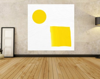 Yellow Large Abstract Painting - MINIMALIST PAINTING - yellow Painting - contemporary art - Modern Art Abstract - Giant Painting Huge Art