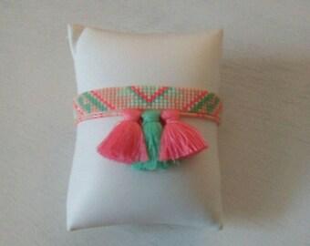 Bracelet Sweety, tissé perles miyuki et pompons,couleurs pastels