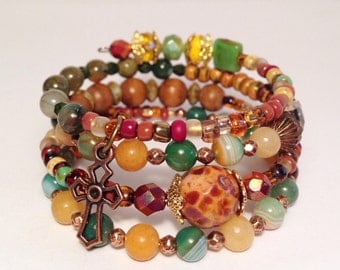 Natural boho color memory wire bracelet , Gemstone and czech glass mixed metal wrap bracelet