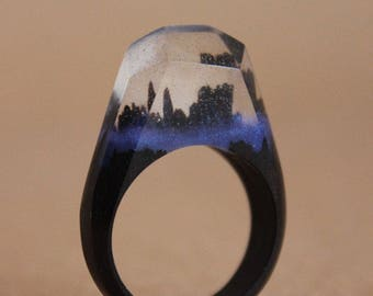 Resin Ring Wood, Size US7.5 (17.5mm) / In Stock. (17003)