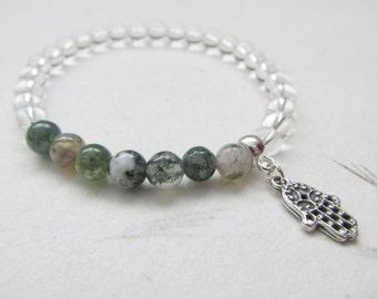 Hamsa bracelet, yoga bracelet, quartz bracelet, moss agate bracelet