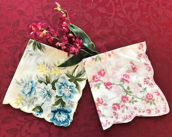Hankies, Two Vintage Hankies, Set of Two Vintage Women Hankies, Vintage Handkerchiefs, Vintage Accessories, Handkerchief Accessory