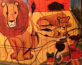 "Vintage 1960s PLAYskool 6-piece preschool wooden puzzle. ""Lion Study."""
