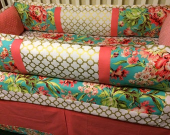 Coral, Teal and Gold Baby Bedding. Love Bliss Crib Bedding. Baby Girl Bedding