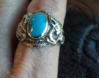 Sterling silver turquoise dragon ring
