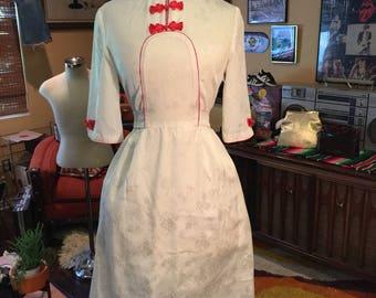 Vintage White Asian Inspired Dress
