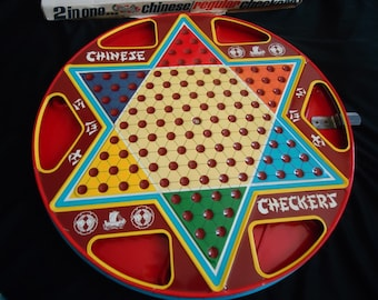 Ohio Art Vintage 1960's Tin Litho Chinese Checkers Double Sided Gameboard with Box