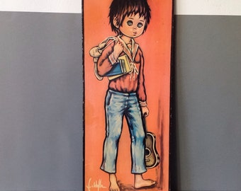 Vintage 60's Big Eyed / Eyes Children/Kids Print On Board Boy With Guitar By Jolylle.F - Idylle.F Vintage Kitch Mid century
