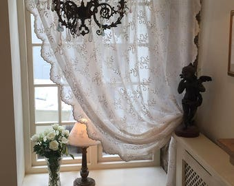 Clematis - Buttermilk soft cream embroider net curtain panel voile with cream ties and exquisite detailed scalloped edges from Scandinavia