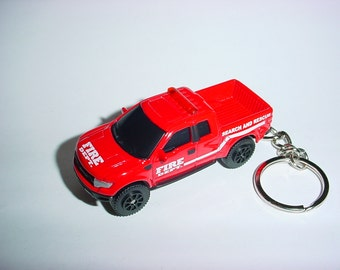 3D 2010 Ford F-150 Raptor truck custom keychain by Brian Thornton keyring key chain finished in fire red 4x4 racing trim pick up rescue 911