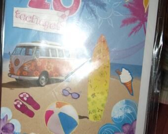 13 Teenager  Beach Birthday Card