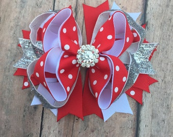 Holiday hair bow - Holiday Bow - Holiday Hairbow - Festive Hair Bow - Red and White hair bow - Red and silver bow - Sparkle hair bow - Bow