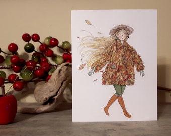 Fall Lady Greeting Card