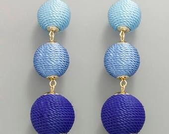 Blue Ombre 3 BonBon Drop Earrings
