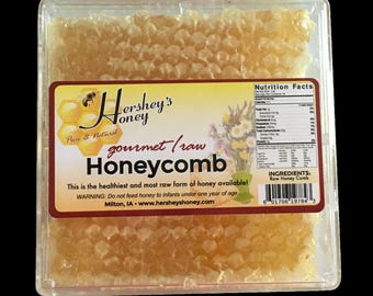 """RAW Honeycomb by Hershey's Honey 4"""" Square PURE and NATURAL is the healthiest form of honey"""