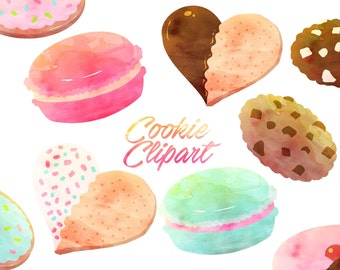 Cookies Clipart, Cookie clip art, sweets clipart, Watercolor clipart for personal and commercial use, scrapbooking,  planner stickers