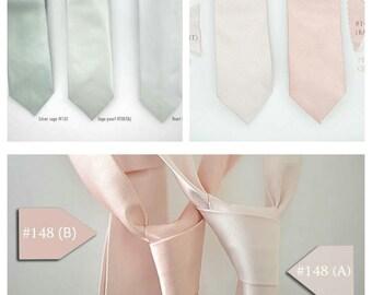 No#287a,287b,No#148a,148b,2 side silk ties,pink blush rose tie,groomsmen,shiny blush rose quartz wedding, sage silver light grey wedding