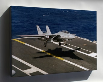 Canvas 24x36; F-14A Tomcat Vf-84 Jolly Rogers Uss Abraham Lincoln 1990