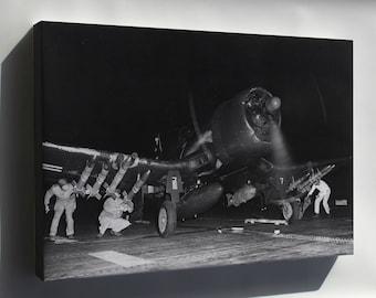 Canvas 24x36; Vought F4U-4B Corsair Marine F Sq (Vmf-214) Blacksheep 1950
