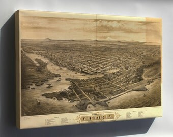 Canvas 16x24; Bird'S-Eye View Map Of Victoria, Vancouver Island, B.C. 1878