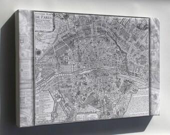 Canvas 16x24; Map Of Paris France Circa 1705