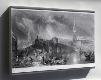 Canvas 16x24; Inverness Scotland Engraving By William Miller 1836