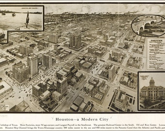 16x24 Poster; Map Of Houston Texas 1912