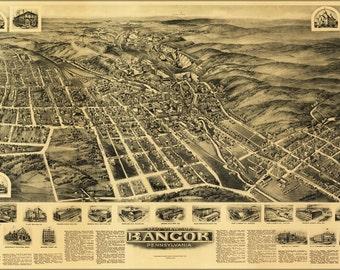 16x24 Poster; Aero View Map Of Bangor, Pennsylvania 1918