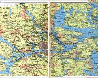 16x24 Poster; Map Of Stockholm Sweden C1928