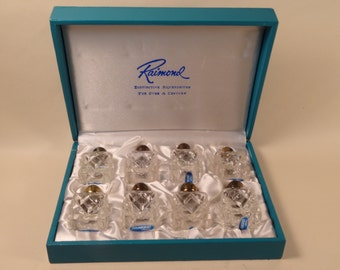 Raimond Glass and Silverplate Salt and Pepper Shakers Four Sets in Box