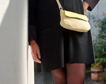 yellow leather handbag flap removable strap women crossbody