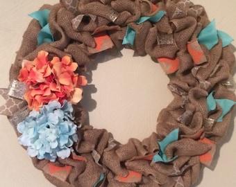 Spring Burlap Wreath - Burlap Wreath - Large Spring Wreath - Front Door Wreath for Spring - Easter Wreath - Hydrangea Wreath