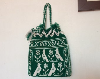 Mexican medium handmade cotton morral in green and white with 4 birds in each face.