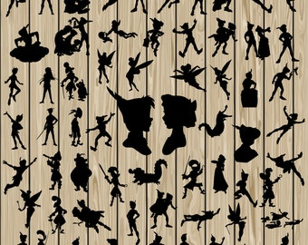 63 Peter Pan SVG, Peter Pan silhouette Clipart , Peter Pan Vector, Peter Pan Svg, Peter Pan Cutting File, Tinker Bell Svg, Wendy Svg.