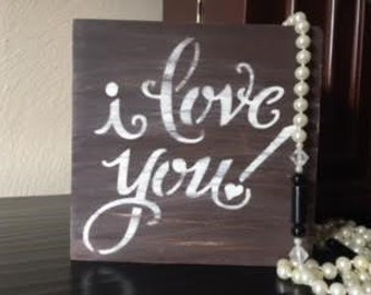 i love you, block sign, shelf sitter, wood block signs, cottage chic!
