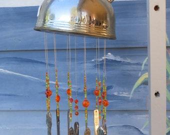 Vintage Shabby Chic Stainless Tea Kettle Silverware & Glass Bead Wind Chime ORANGE