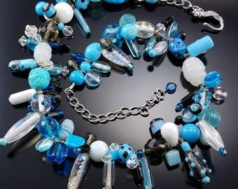Vintage Murano Glass Lampwork Necklace Blue Artisan Estate Jewelry
