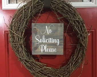 No Soliciting Please Sign | Home Decor | Door Sign | Porch Decor | Rustic Decor | No Soliciting Door Sign | Wooden Sign | Porch Wood Sign