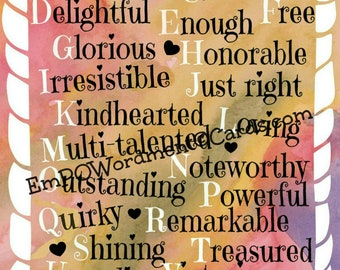 ABCs of Me  /Empowerment/Affirmations/Celebration/empowering girls and women/Uplifting/Encouragement/ inspiration/sisterhood