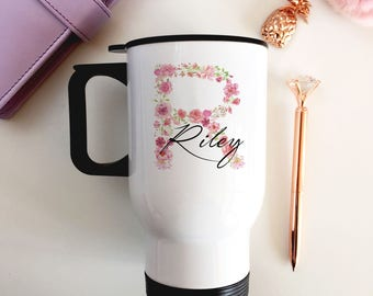 Personalised Insulated Travel Mug - Stainless Steel - Floral Initial Name - Gifts for Her - FREE POSTAGE