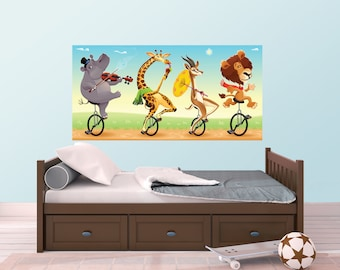 African Animal Musicians on Parade Wall Sticker Mural - WDDASA10027