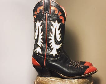 Vintage Red and black western wingtip cowboy boots/Justin/Size:7/7.5