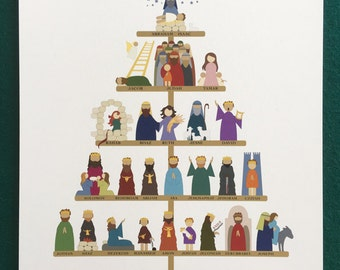 Timeline Tree art print - The Lineage of Jesus for Christmas, signed by the artist (8.5x11 in.)