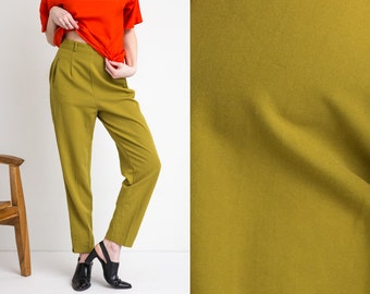 90s Chartreuse High Waist Pleated Trouser M