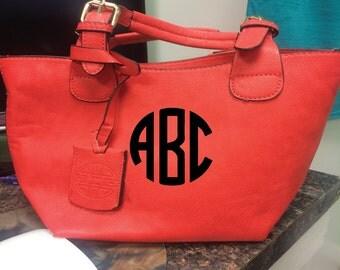 Coral Monogram Mini 2-in-1 Handbag, Personalized Mini Coral Handbag, Master Circle Monogram Handbag, Master Circle Monogram Coral Mini Bag
