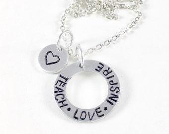 Personalized Teacher appreciate gift, End of year teacher gift, Teach love inspire, Teacher gift ideas